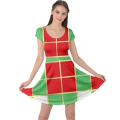 Christmas Fabric Textile Red Green Cap Sleeve Dresses