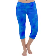 Simple Blue Capri Yoga Leggings by Valentinaart