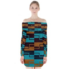 Fabric Textile Texture Gold Aqua Long Sleeve Off Shoulder Dress by AnjaniArt
