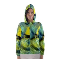 Light Blue Yellow Abstract Fractal Hooded Wind Breaker (women)