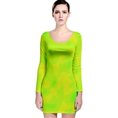 Simple Yellow And Green Long Sleeve Velvet Bodycon Dress by Valentinaart