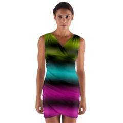 Dark Green Mint Blue Lilac Soft Gradient Wrap Front Bodycon Dress by designworld65