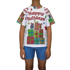 Happy Holidays   Gifts And Stars Kids  Short Sleeve Swimwear by Valentinaart