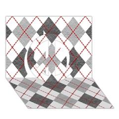 Fabric Texture Argyle Design Grey Peace Sign 3d Greeting Card (7x5) by AnjaniArt