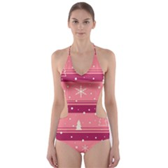 Pink Xmas Cut Out One Piece Swimsuit by Valentinaart