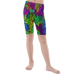 Hot Liquid Abstract A Kids  Mid Length Swim Shorts by MoreColorsinLife