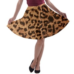 Leopard Print Animal Print Backdrop A Line Skater Skirt by AnjaniArt