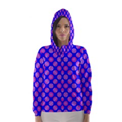 Bright Mod Pink Circles On Blue Hooded Wind Breaker (women) by BrightVibesDesign