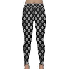 Death Star Polka Dots In Greyscale Yoga Leggings  by fashionnarwhal