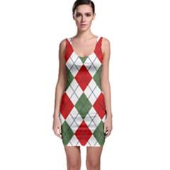 Red Green White Argyle Navy Sleeveless Bodycon Dress by AnjaniArt