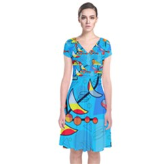 Happy Day   Blue Short Sleeve Front Wrap Dress by Valentinaart