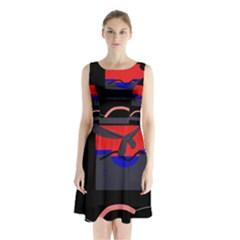 Geometrical Abstraction Sleeveless Chiffon Waist Tie Dress by Valentinaart