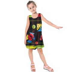 Playful Day Kids  Sleeveless Dress by Valentinaart
