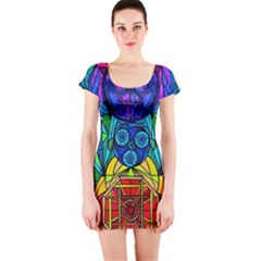 Arcturian Conjunction Grid   Short Sleeve Bodycon Dress