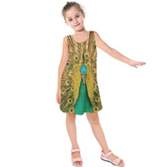 Bird Peacock Feathers Kids  Sleeveless Dress by AnjaniArt