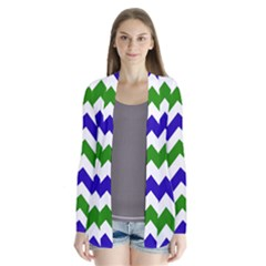 Blue And Green Chevron Pattern Drape Collar Cardigan by AnjaniArt