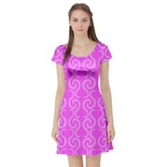 Pink Elegant Pattern Short Sleeve Skater Dress by Valentinaart