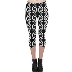 Black And White Pattern Capri Leggings  by Valentinaart