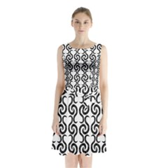 White And Black Elegant Pattern Sleeveless Chiffon Waist Tie Dress by Valentinaart