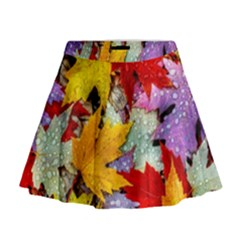 Coloorfull Leave Mini Flare Skirt by AnjaniArt