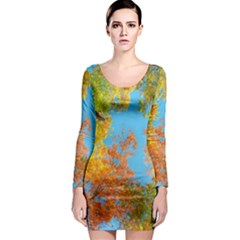 Colorful Leaves Sky Long Sleeve Bodycon Dress