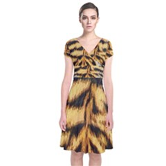 Tiger Fur Painting Short Sleeve Front Wrap Dress