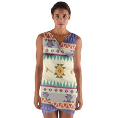 Your First Aztec Pattern Wrap Front Bodycon Dress by AnjaniArt