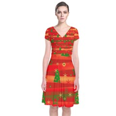 Xmas Magic Short Sleeve Front Wrap Dress by Valentinaart