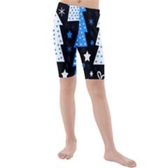 Blue Playful Xmas Kids  Mid Length Swim Shorts by Valentinaart