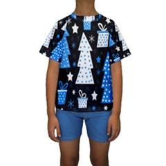 Blue Playful Xmas Kids  Short Sleeve Swimwear by Valentinaart