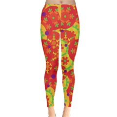 Orange Design Leggings  by Valentinaart