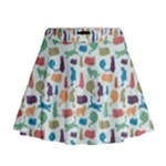 Blue Colorful Cats Silhouettes Pattern Mini Flare Skirt