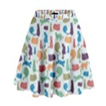 Blue Colorful Cats Silhouettes Pattern High Waist Skirt