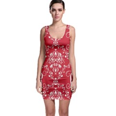 Initial Damask Red Paper Sleeveless Bodycon Dress by AnjaniArt