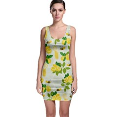 Lemon Print Fruite Juise Fress Drink Sleeveless Bodycon Dress by AnjaniArt