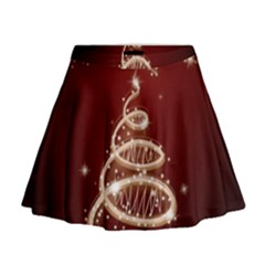 Shiny Christmas Tree Mini Flare Skirt by AnjaniArt