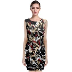 Abstract Floral Design Classic Sleeveless Midi Dress by Valentinaart