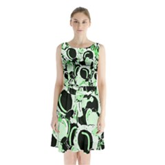 Green Abstract Garden Sleeveless Chiffon Waist Tie Dress by Valentinaart