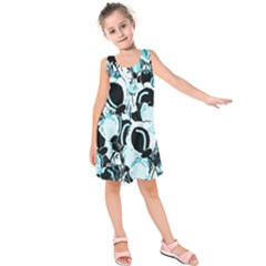 Blue Abstract  Garden Kids  Sleeveless Dress by Valentinaart