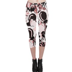 Pink Abstract Garden Capri Leggings  by Valentinaart