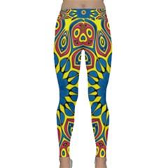 Yellow Flower Mandala Classic Yoga Leggings by designworld65