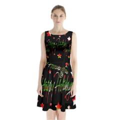 Happy Holidays 2  Sleeveless Chiffon Waist Tie Dress by Valentinaart