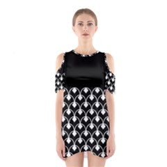 White And Black Geometric Design  Cutout Shoulder Dress by GabriellaDavid