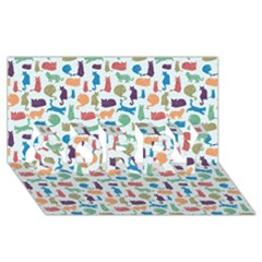 Blue Colorful Cats Silhouettes Pattern Sorry 3d Greeting Card (8x4) by Contest580383