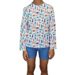 Blue Colorful Cats Silhouettes Pattern Kids  Long Sleeve Swimwear