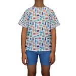 Blue Colorful Cats Silhouettes Pattern Kids  Short Sleeve Swimwear