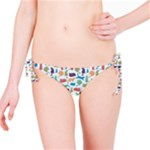 Blue Colorful Cats Silhouettes Pattern Bikini Bottom