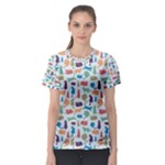 Blue Colorful Cats Silhouettes Pattern Women s Sport Mesh Tee