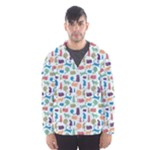 Blue Colorful Cats Silhouettes Pattern Hooded Wind Breaker (Men)