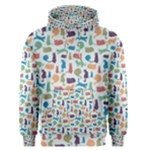 Blue Colorful Cats Silhouettes Pattern Men s Pullover Hoodie